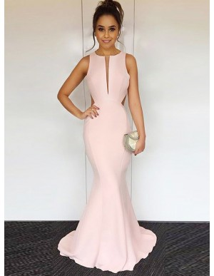 Mermaid Round Neck Open Back Pink Prom Dress with Keyhole