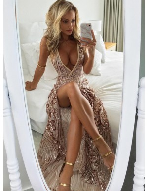 A-Line Spaghetti Straps Backless Long Lace Sexy Champagne Prom Dress with Split