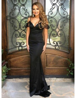 Mermaid Spaghetti Straps Black Stretch Satin Prom Dress with Ruffles