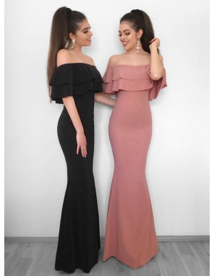 Mermaid Off-the-Shoulder Sleeveless Black Long Prom Dress