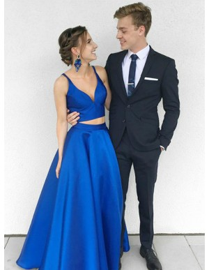 Two Piece V-Neck Floor-Length Royal Blue Satin Prom Dress