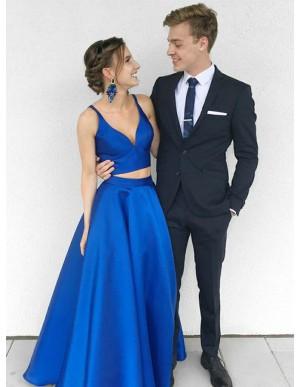 Two Piece V-Neck Floor-Length Royal Blue Satin Prom Dress
