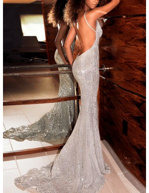 Mermaid Spaghetti Straps Backless Long Silver Sequined Prom Dress