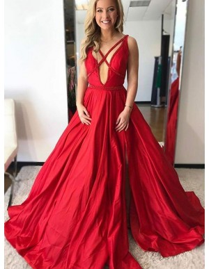 A-Line Deep V-Neck Backless Sweep Train Red Satin Prom Dress with Beading