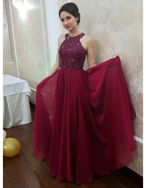 A-Line Jewel Sleeveless Floor-Length Burgundy Chiffon Prom Dress with Beading