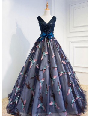 A-Line Dark Blue Lace-Up Dark Blue Tulle Prom Dress with Beading Appliques