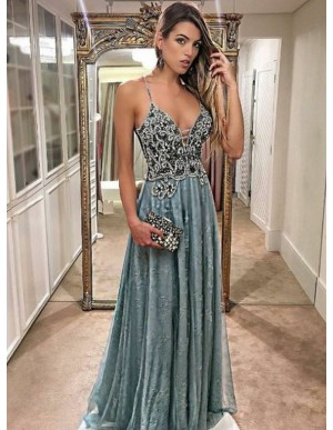 A-Line Spaghetti Straps Floor-Length Blue Prom Dress with Beading