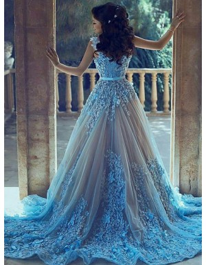 A-Line V-Neck Court Train Light Blue Tulle Prom Dress with Appliques