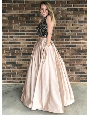 Two Piece Open Back Floor-Length Champagne Prom Dress with Beading Pockets