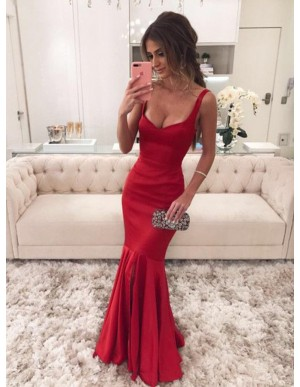 Stunning Mermaid Straps Red Prom Dress with Ruffles Long Prom Gown