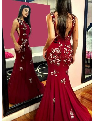 Mermaid Round Neck Sweep Train Burgundy Prom Dress with Appliques