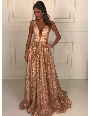 A-Line Deep V-Neck Sweep Train Pink Lace Prom Dress with Beading