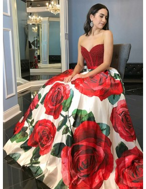 A-Line Sweetheart Floor-Length Floral Satin Prom Dress with Beading