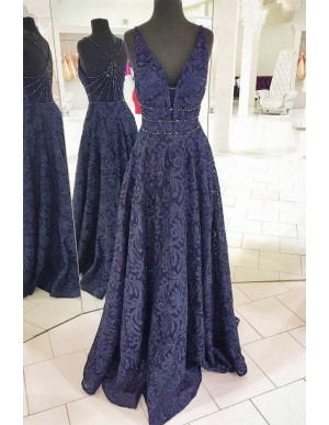 A-Line Deep V-Neck Floor-Length Navy Blue Lace Prom Dress with Beading