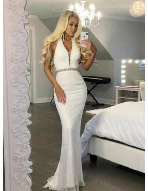 Mermaid Halter Floor-Length White Sequined Prom Dress with Beading