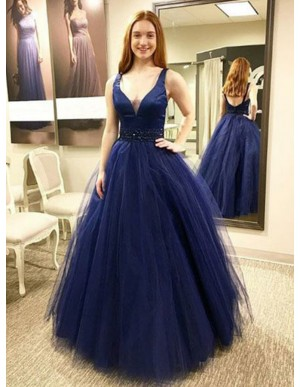 A-Line Scoop Floor-Length Navy Blue Prom Dress with Beading