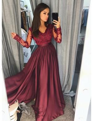 A-Line V-Neck Long Sleeves Burgundy Prom Dress with Appliques Split