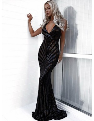 Mermaid V-Neck Sleeveless Backless Black Sequined Prom Dress