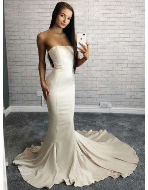 Mermaid Strapless Sweep Train Ivory Elastic Satin Prom Dress