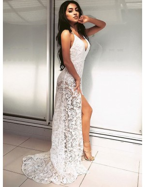 Sheath Spaghetti Straps Sweep Train White Lace Prom Dress