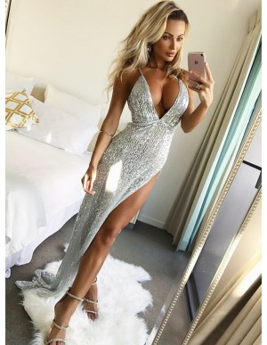 A-Line Spaghetti Straps Floor-Length Silver Sequined Prom Dress