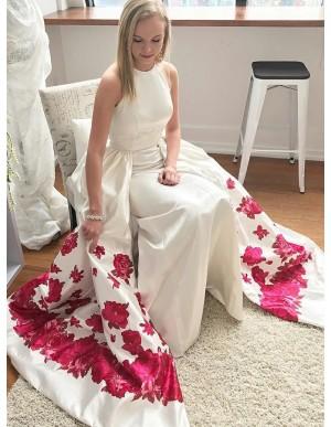 Sheath Round Neck Sleeveless Floral Satin Detachable Prom Dress