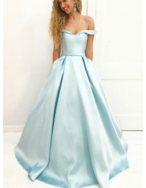 A-Line Off-the-Shoulder Sweep Train Light Sky Blue Prom Dress with Pockets