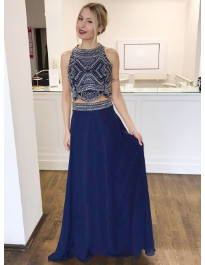 Two Piece Round Neck Dark Blue Chiffon Prom Dress with Beading