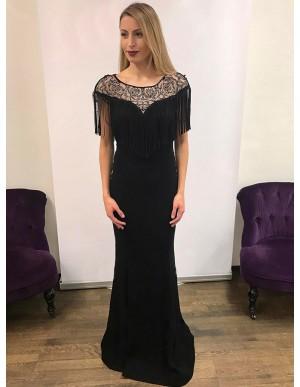 Mermaid Round Neck Floor-Length Black Prom Dress with Beading Tassel