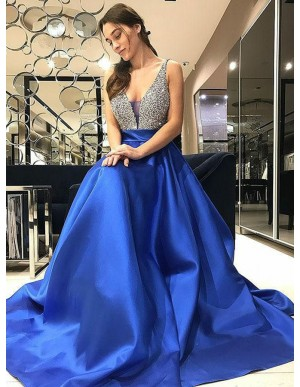 A-Line V-Neck Sweep Train Royal Blue Satin Prom Dress with Beading