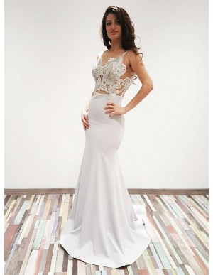 Mermaid Scoop Backless Sweep Train White Prom Dress with Appliques