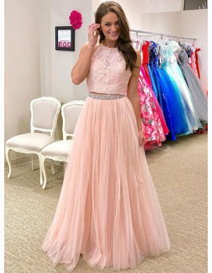 A-Line Round Neck Floor-Length Pink Prom Dress with Applques