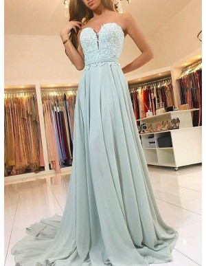 A-Line Sweetheart Sweep Train Sage Chiffon Prom Dress with Appliques