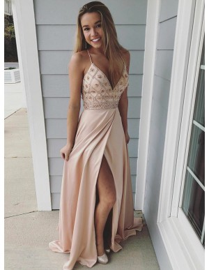 A-Line Spaghetti Straps Backless Pink Prom Dress with Beading