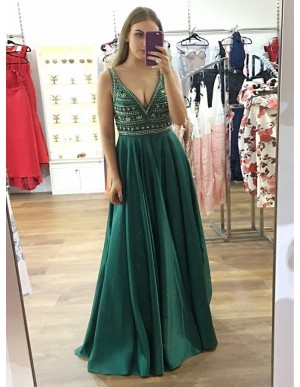 A-Line Deep V-Neck Floor-Length Dark Green Prom Dress with Beading