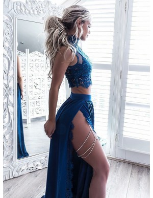 Two Piece High Neck Floor-Length Turquoise Prom Dress with Lace