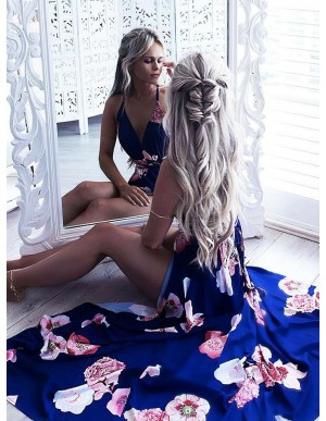 A-Line Spaghetti Straps Floor-Length Blue Floral Prom Dress