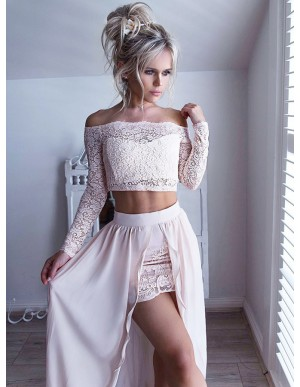 Two Piece Off-the-Shoulder Long Sleeves Pearl Pink Prom Dress with Lace