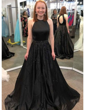 A-Line Round Neck Open Back Black Satin Prom Dress with Beading