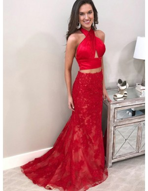 Two Piece Cross Neck Sweep Train Black Red Prom Dress with Appliques