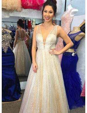 A-Line V-Neck Long Light Champagne Lace Prom Dress with Sequins