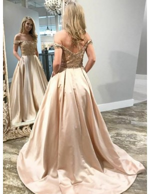 A-Line Off-the-Shoulder Sweep Train Champagne Prom Dress with Pockets