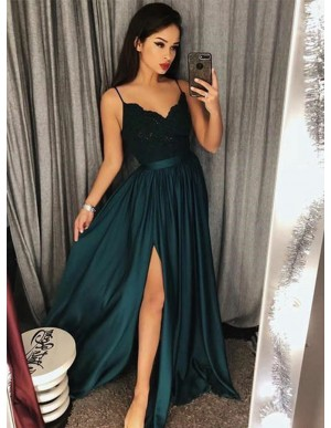 A-Line Spaghetti Straps Dark Green Prom Dress with Lace Long Party Dress