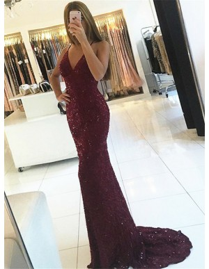 Mermaid Spaghetti Straps Backless Burgundy Sequined Prom Dress