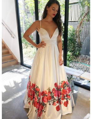 A-Line Spaghetti Straps Floor-Length White Floral Prom Dress