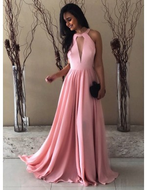 A-Line Round Neck Backless Pink Chiffon Prom Dress with Keyhole