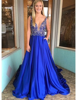 A-Line V-Neck Court Train Royal Blue Prom Dress with Pockets