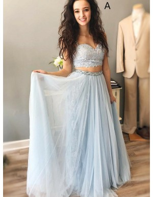 Two Piece Spaghetti Straps Long Prom Dress with Lace Beading