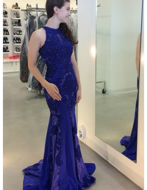 Mermaid Round Neck Open Back Dark Blue Prom Dress with Sequins