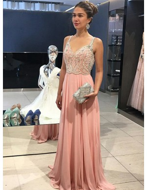 A-Line Straps Backless Pink Long Chiffon Prom Dress with Lace